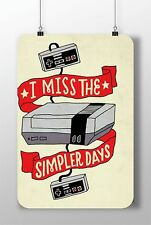 """METAL SIGN NINTENDO CONSOLE """"I Miss The Simpler Days"""" Decor Wall Home Video Game"""