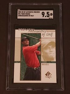 Tiger Woods 2001 Upper Deck SP Authentic SGC 9.5 Preview Rookie RC