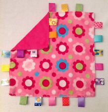 """TAGGIES Pink Floral Lovey Security Blanket Satin Tags 12""""x12"""" Flowers Soft"""