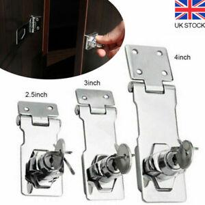 "Locking Hasp and Staple with Keys Padlock Cupboard Shed Garage Lock 2.5""/3""/4"""