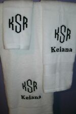 Monogram Initals Letters  Personalized 3 Piece Bath Towel Set ANY COLOR