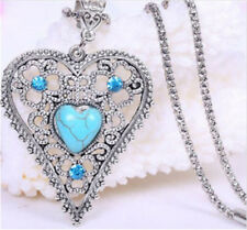 Vintage Jewelry Tibetan Silver charm Heart Turquoise Women Pendant Necklace !