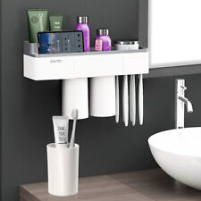 Toothpaste Toothbrush Holder Home Bathroom Wall Mount Stand Storage Rack,3 cups
