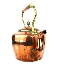Antique Victorian Copper & Brass Kettle Acorn Finial Dovetailed 7 Pints