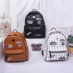 """Fashion victory patch canvas coated leather studded classic backpack size 12"""""""