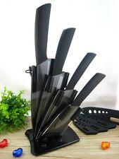 """Black Blade Ceramic Knife Set Chef Kitchen Knives 3"""" 4"""" 5"""" 6"""" + Peeler + Holder"""