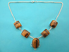 925 Sterling Silver Necklace With Natural Tigers Eye Jewellery  (nk1624)