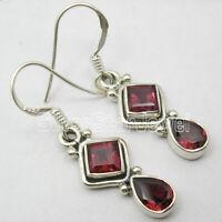 """GARNET 2 STONE Jewelry! 925 Solid Sterling Silver 3.8 Grams DANGLE Earrings 1.4"""""""