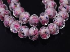 Wholesale Flower Inside Faceted Rondelle Loose Lampwork Glass Spacer Beads 12mm