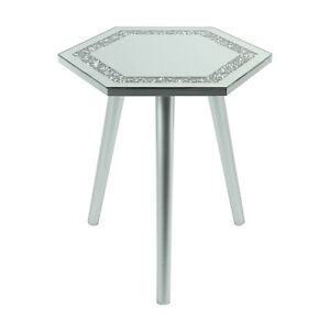 Mirrored Glass Hexagon Side End Coffee Table Multicrystal Silver Grey 38x33x40cm