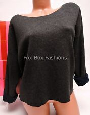 Large L VICTORIA'S SECRET Kiss of Cashmere Boxy Double-knit Sweater Navy / Gray