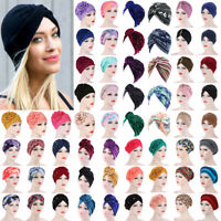 Women Muslim Stretch Turban Hat Chemo Cap Hair Loss Head Scarf Wrap Hijab Caps
