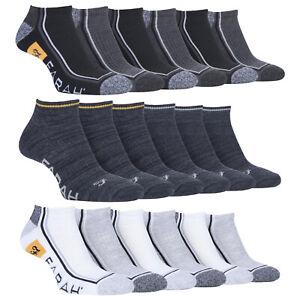 Farah - Mens 6 Pairs Cushioned Quarter Length Sports Ankle Socks
