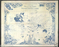 Map Of The British Empire 1886 Reprint 10x8 Inch India & Colonial Exhibition
