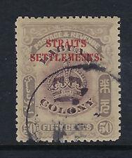 STRAITS SETTLEMENTS:1907 50c dull purple ,0pt on Labuan SG150 fine used