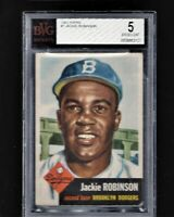 ⚾ 1953 Topps #1 JACKIE ROBINSON BVG = PSA 5 EX CENTERED! + 1952 Mickey Mantle re