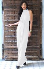 Womens Long Formal Sleeveless Pleated Flowy Halter Neck Bridesmaid Maxi Dress