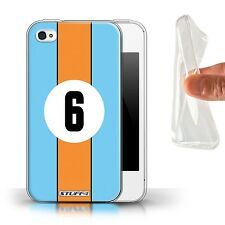 STUFF4 Gel/TPU Case/Cover for Apple iPhone 4/4S/Racing Car Stripes