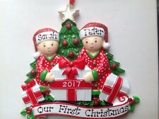 Personalized Twins Newlywed Couple's First Christmas Pajama Ornament Grandparent