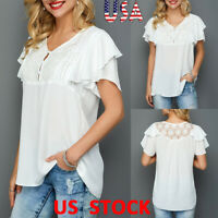 US Women Lace Splice V-neck T-shirt Ruffle Sleeve Solid Tops White Blouse Summer