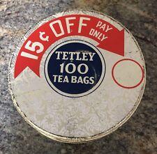 "Vintage Round Tetley Tea Bag Tin ""15 cents off"", very nice condition"