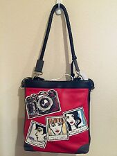 Brighton NWT Flash H3443M Cross Body Fashionista Red Black Camera Leather Bag