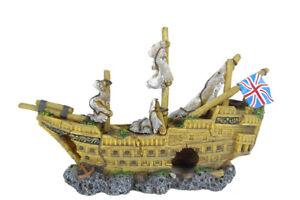 Large English Galleon Ship Wreck, Aquarium Fish Tank Decoration, FISH SAFE