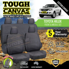 Canvas Seat Covers for Toyota Hilux Dual Cab SR5 4x4 2ROWs 04/2005-06/2015 Grey
