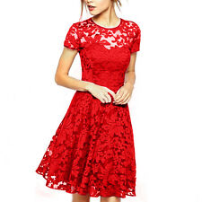 Womens Floral Lace Bridesmaid Short Sleeve Dress Ladies Party Evening Plus Size