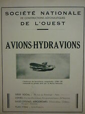 1940 PUB SNCAO HYDRAVION LOIRE 130 MARINE NATIONALE SEAPLANE ORIGINAL AD