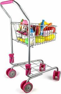 Precious Toys Kids&Toddler Pretend Play Shopping Cart with Groceries