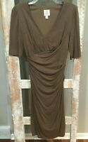Suzi Chin For Maggy Boutique Women Light Brown Casual Wrap Long SS Dress 8