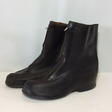 Vintage Galoshes Black Rubbers Rain Boots Zipper Size 9 Overshoes Mud Chore Boot