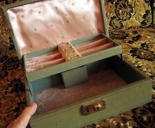 "True Vintage 60s Mini Grey Pink Liner Hippie Jewelry Box Case NO Key 10x7x3.5"""
