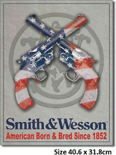 Smith & Wesson American Born Tin Sign 1465 Post 2-13 signs  flat rate.