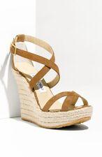 sz 10 US / 40 Jimmy Choo Porto Tan Suede Platform Espadrille Wedge Sandal Shoes