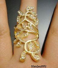 Gold Tone Long Ornate Ring with clear Diamonte / Diamante Stones - NEW!