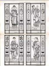 1876 Peint Verre Décorations Salle de Billard Streatham Hill Thomas Harris architectes