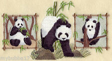 PANDA BEARS TRIO NEW SET OF 2 BATH HAND TOWELS EMBROIDERED BY LAURA