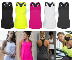 GIRLIE FIT VEST TOP WITH MESH PANEL AND RACER BACK STYLING. FEMININE FIT, JC027