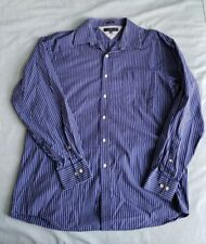TOMMY HILFIGER Men's Dress Shirt ~ BLUE / WHITE STRIPE ~ 16.5 34/35 Regular Fit