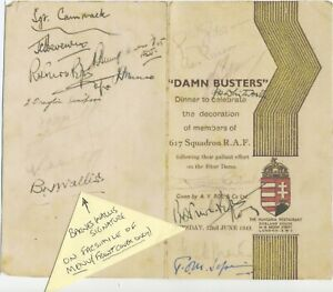 GUY GIBSON VC- & BARNES WALLIS etc SIGNED  PARTY MENU   PARTY 1943 - DAMBUSTERS