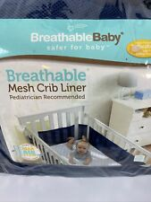Breathable Baby Mesh Crib Liner Navy Blue Gently Used Original Package M