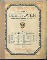 Beethoven , Mondscheinsonate Op. 27 Nr. 2 cis moll ~  übergroße, alte Noten