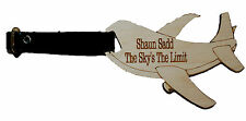 Aeroplane Shaped Personalised Engraved Luggage Tag with Leather Strap & Buckle