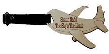 Aeroplano a forma di Personalizzato Inciso bagagli Tag Con Cinturino in Pelle Fibbia &
