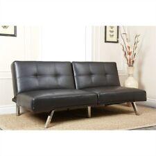 Abbyson Living Aspen Black Leather Futon Sleeper Sofa Bed