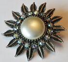 broche bijou vintage couleur argent cristaux boréalis cabochon nacré *3156