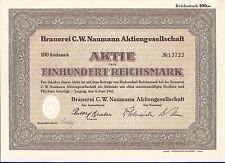 Cervecería C.W. Naumann AG 100 RM 1941 Leipzig