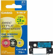 Casio Disc Title Printer Ink Ribbon TR-18BU-3P Blue 3pcs computer Cassette